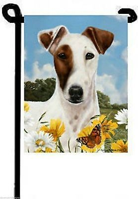 """Fox Terrier Garden Flag USA Made Double Sided 11"""" x 15"""" One Patch Eye Dog Gift"""