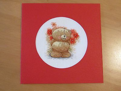 Ex Large Cross Stitch Card - Forever Friends for Mother's Day - hand-stitched