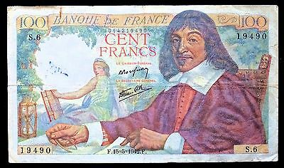 France 100 Francs Banknote - Issued 15/5/1942 - P#101a - Fine