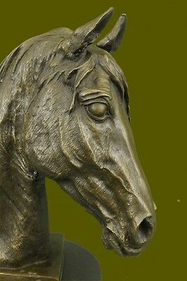 Beautiful Vintage Bronze Horse Bust On Marble Sculpture Statue Figurine Gift DB