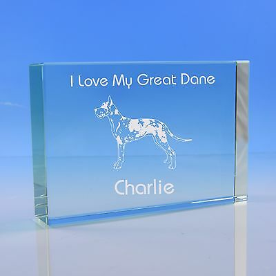 Harlequin Great Dane Dog Lover Gift Personalised Engraved Glass Paperweight