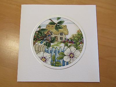 Ex Large Cross Stitch Card - Summer Cottage with hibiscus - hand-stitched