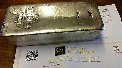 Umicore 5Kg Fine Silver Bar With Certificate Of Authenticity.