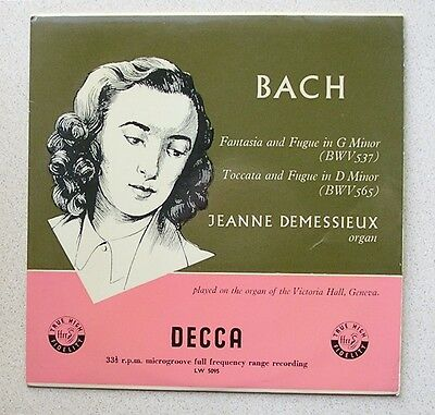 10'' LP - BACH - ' FANTASIA/TOCCATA and FUGUE '  (1958) Decca  LW 5095  EXC
