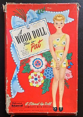 Original Pat Wood Doll Paper Dolls, 1948, Uncut Box Set, Vintage, Hilda Miloche