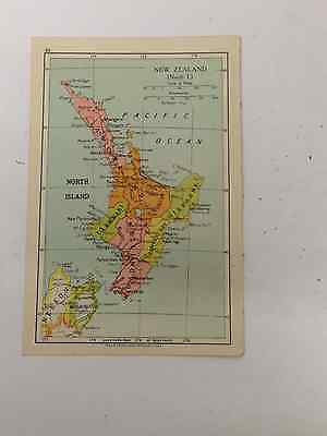 New Zealand Map Old Vintage Original Print 1942 Railway Routes Xmas Gift Dad Bro