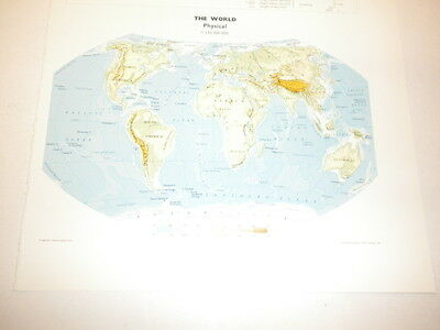 The World PHYSICAL Map Old Original Print 1986  North South America Africa Ocean