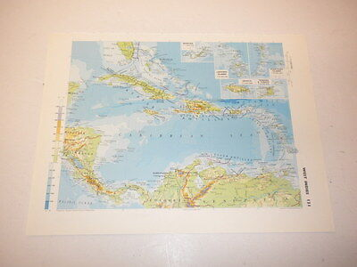 Map WEST INDIES Colombia Venezuela Honduras Old Vintage Original Print 1986