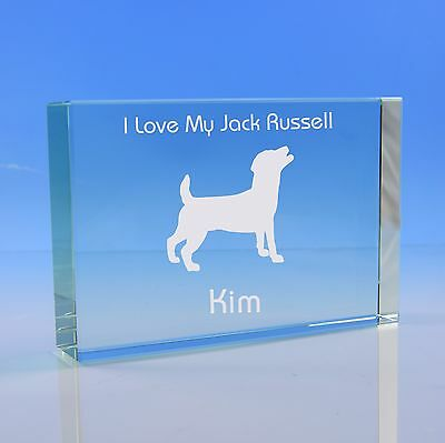 Jack Russell Dog Gift Personalised Engraved Glass Paperweight - Birthday