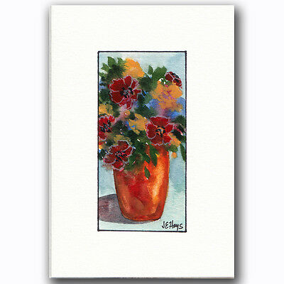 Hand Painted Greeting/Note Card ORIGINAL WATERCOLOR Red Flowers in a Vase NEW