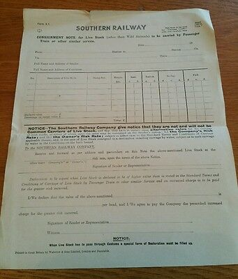 Vintage Southern Railway Consignment Note for Livestock