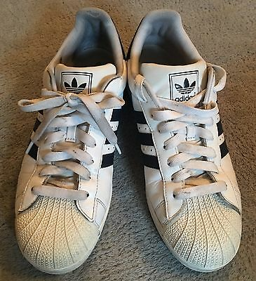 Men's Size 11.5 Adidas Superstar 2 White w/Blue Stripes G17070 Sneakers