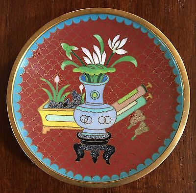 Vintage Chinese Cloisonne' Small Round Plate Dish Red Enamel