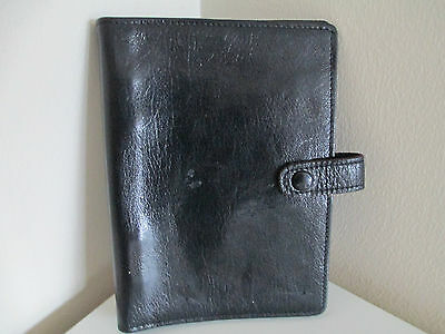 Vintage Black Kid Leather Filofax - Small Rings