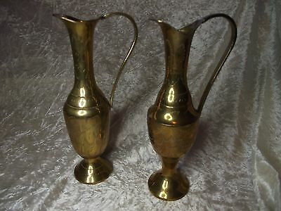 Pair Vintage Etched Brass Indian Jugs