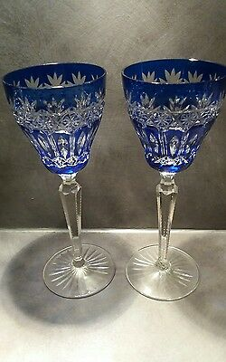 Pair of beautiful crystal hock wine glasses cobalt blue cut to clear