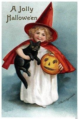 1909 Clapsaddle Jolly Halloween Holiday Child Witch Pumpkin Cat Poster 319333