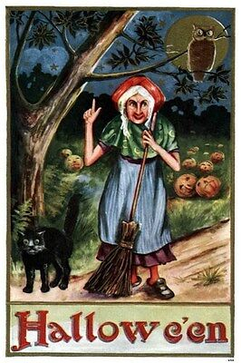 1910 Halloween Pumpkin Field Scary Witch Hex Owl Cat Holiday Party Poster 319334