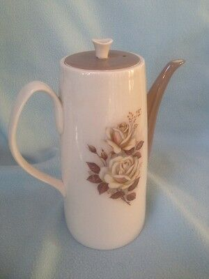 Vintage QUEEN ANNE BONE CHINA COFFEE POT Brown Roses 70's Era Retro