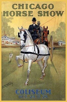 1902 Chicago Coliseum Horse Club Show Equestrian Carriage Buggy Poster 319372