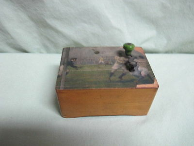 Antique Music Box with Soccer Players  Edelweiss is the music