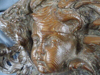 Rare 17Th Century Pine Carved Panel, Cherub With Wings , Scrolling Leaves