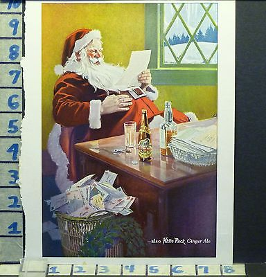 1923 White Rock Mineral Water Ginger Christmas Santa Holiday Vintage Ad  Ae99