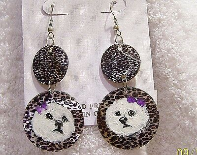 hand painted Bichon Frise on  shell dangle earrings