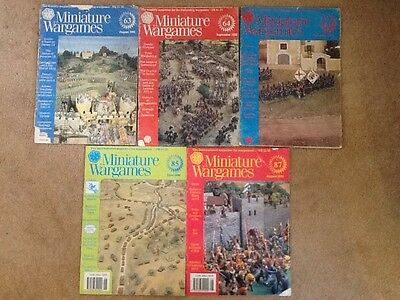 Miniature Wargames Magazines Issues 63, 64, 66, 85, 87 OOP 1988/90