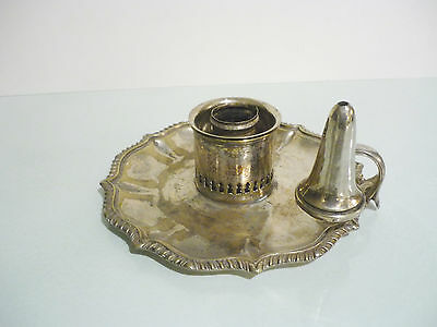 Victorian William Hutton & Sons Silver Plate Candle Holder and Snuffer