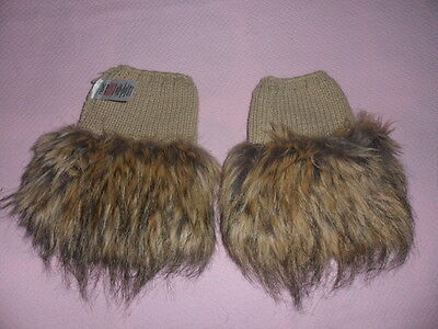 next faux fur boot toppers beige/tan new