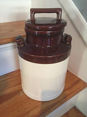 """Vintage USA Pottery Beige &  Brown 11"""" Milk Can Canister"""