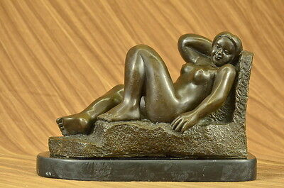 Handmade bronze sculpture Statue Female Botero Fernando Nude Marble Signed DB