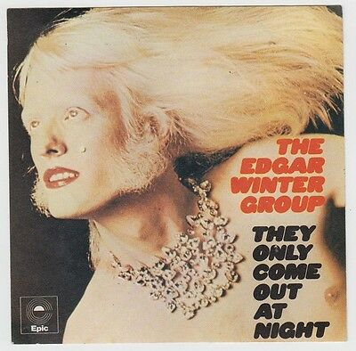 EDGAR WINTER Only Come Out At Night 1972 Unused Promo Sticker Orig. Blues Rock