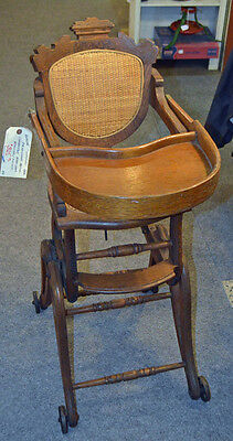 FANTASTIC RARE OAK RENAISSANCE REVIVAL CONVERTIBLE HIGH CHAIR ROCKER Circa 1890