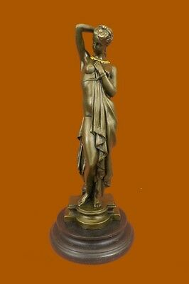 Bronze lady bust patina Art Nouveau Victorian on marble base Figurine DB