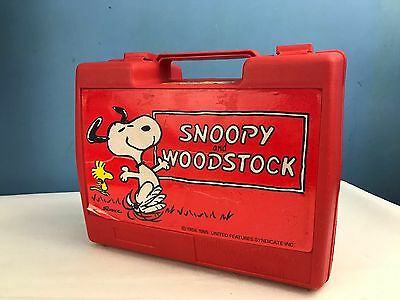 Vintage Circa 1983 Red Snoopy and woodstock Lunchbox Thermos Roughneck L/B82