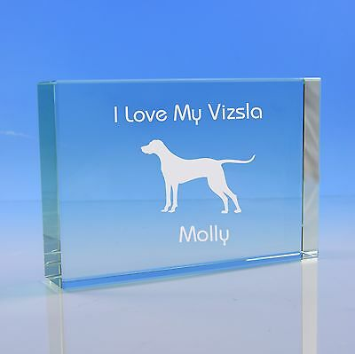Vizsla Dog Gift Personalised Engraved Glass Paperweight - Birthday
