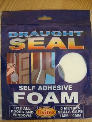 EXITEX  white foam draught excluder 5m seals gaps 1mm-4mm, self adhesive
