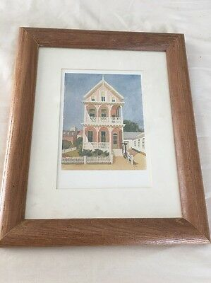 "House Water Color By A S Wilson 12""x10"" Wall Hanging Picture"