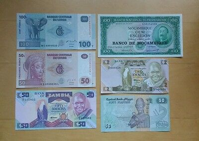 6 UNC banknotes of Africa. Egypt, Congo, Zambia and Mozambique