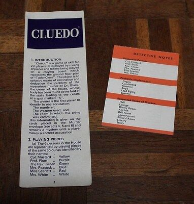 Vintage Cluedo Game Spares * Replacement Score Cards & Rules