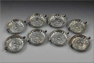 8 English Silver Reposse Handled Wine Coasters