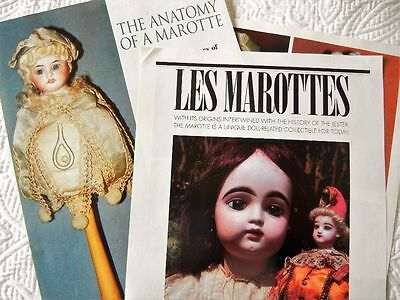 6p History Article + Color Pics -  Antique French Marotte Dolls on Sticks