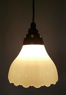 Original Antique Edwardian Milk White Ceiling Lamp Light Fully Rewired