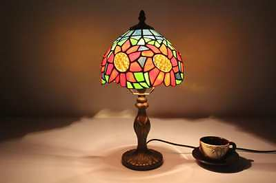 New Tiffany Style Lamp Red Flower Table Desk Stained Glass Decor Handcrafted US