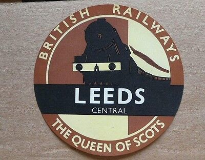 The Queen of Scots, Leeds Central. British Railway luggage lable
