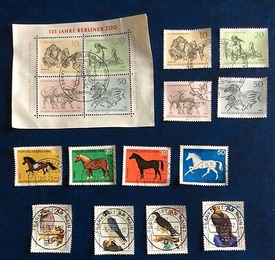 Berlin Birds And Animals 12 Stamps And A Miniature Sheet Used (Lot 95)
