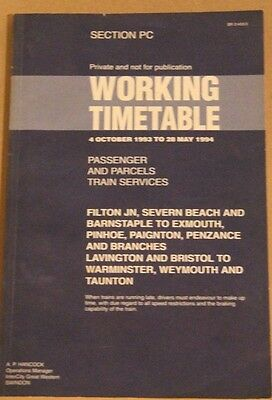 Great Western Railway Southwest Working Timetable 4th Oct 1993 to 28th May 1994