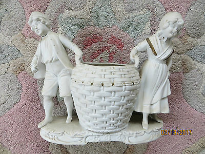 "GERMAN PAINTED BISQUE BOY AND GIRL CARRYING BASKET, No 2265, 7""x6"" (18X15cm)!"